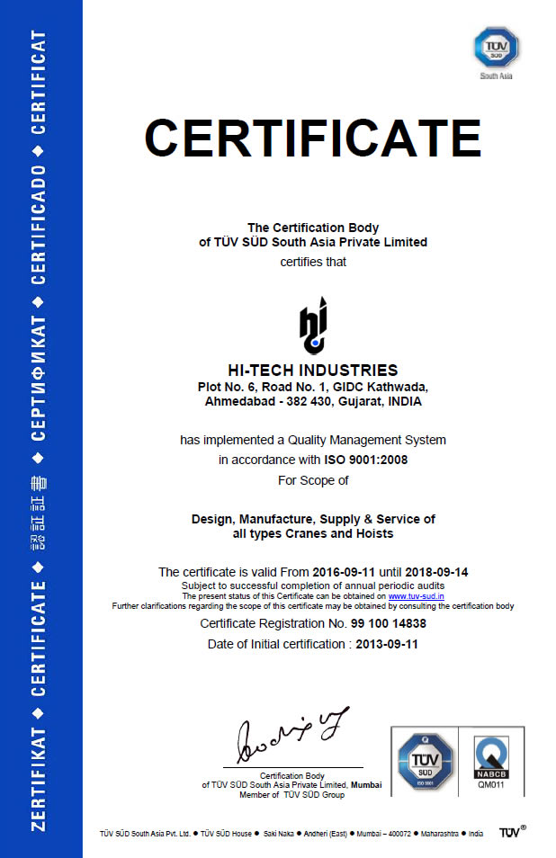 Hi-Tech Cranes & Hoist Manufacturer & Exporter | eot crane